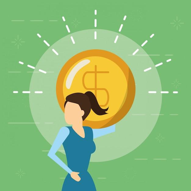 Bedrijfsvrouw en geldmuntstuk, vlakke stijl Gratis Vector