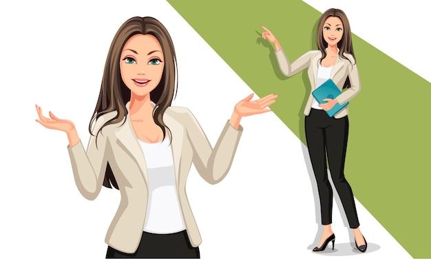 Bedrijfsvrouw in presentatieillustratie Premium Vector
