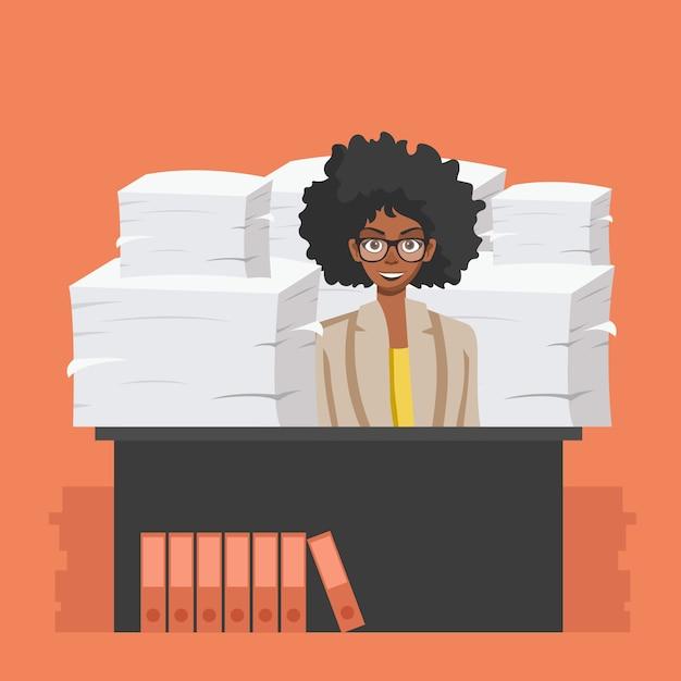 Bedrijfsvrouw met stapel van bureaudocumenten Premium Vector