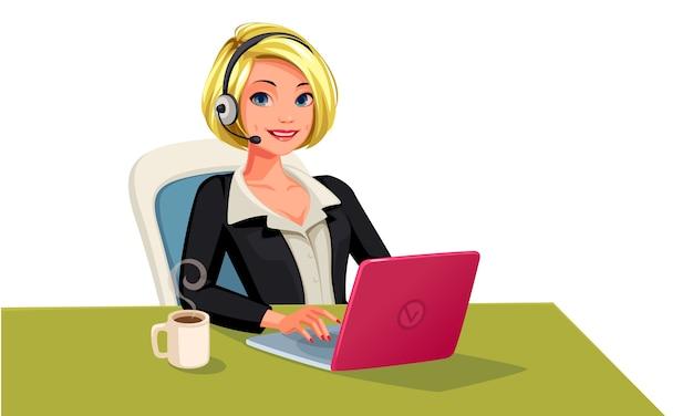 Bedrijfsvrouw op oproep gelukkig lachend gezicht illustratie Premium Vector