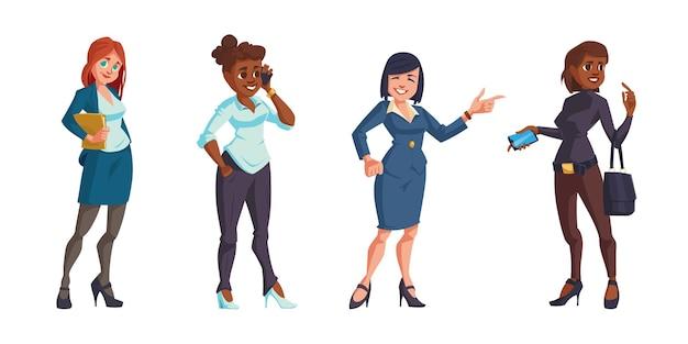 Bedrijfsvrouwen in geïsoleerde bureaukleren Gratis Vector