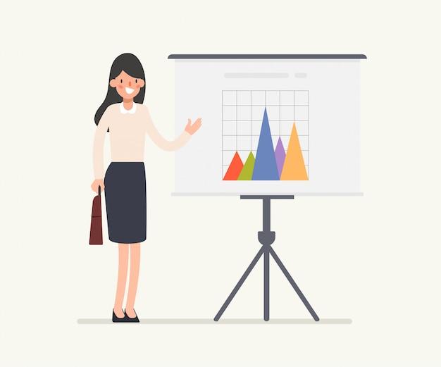 Bedrijfsvrouwenkarakter die whiteboard voorstellen. Premium Vector