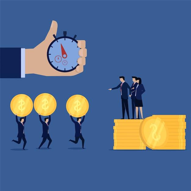 Bedrijfswerknemer die geld voor hun werkgever maken die met tijddoel in werking wordt gesteld Premium Vector