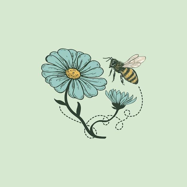 Bee bloem logo Premium Vector