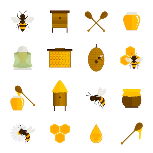 Bee honing pictogrammen platte set Gratis Vector