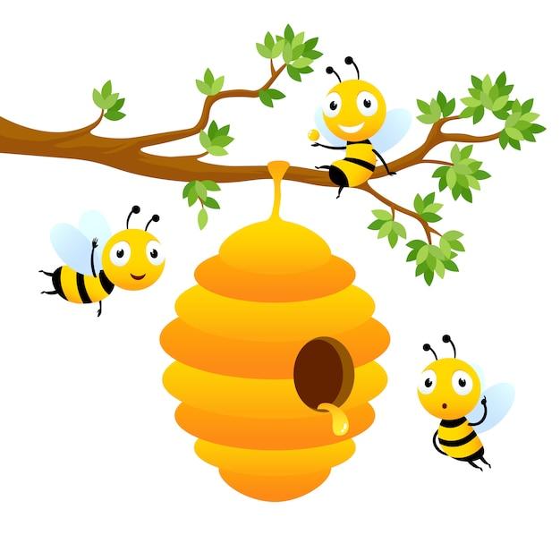 Bee karakters. vector cartoon mascotte ontwerp geïsoleerd Premium Vector