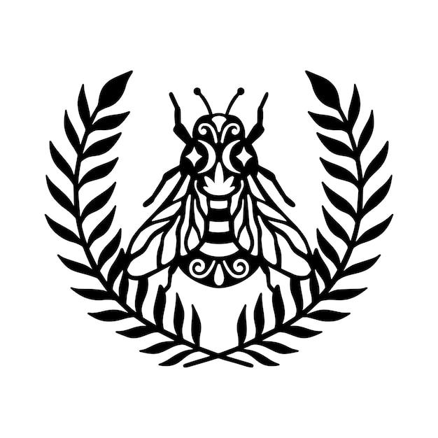 Bee krans floral frame illustratie concept Premium Vector