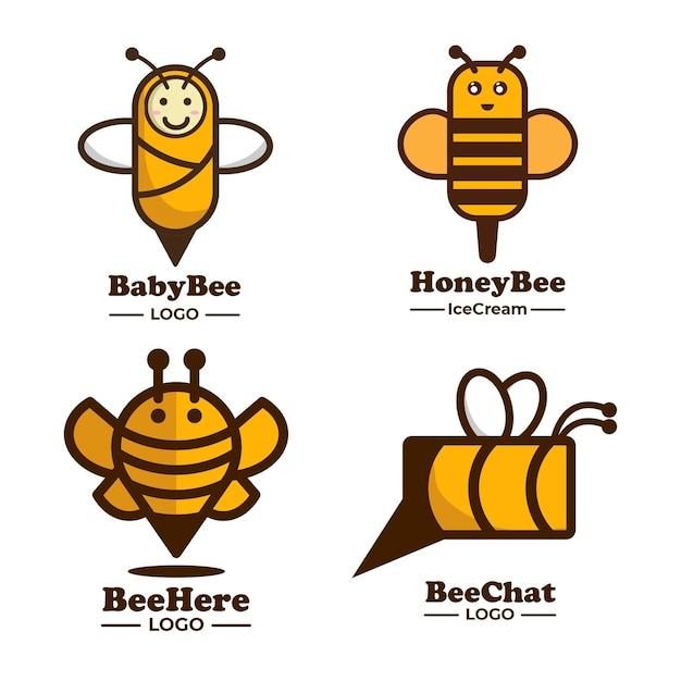 Bee logo idee collectie Premium Vector