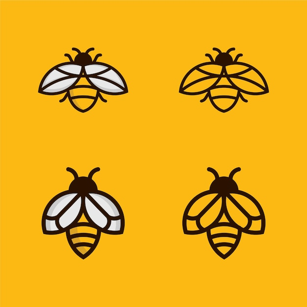 Bee outline monoline logo-ontwerp instellen Premium Vector