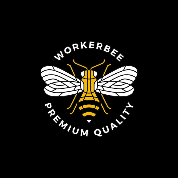 Bee ronde badge label logo Premium Vector