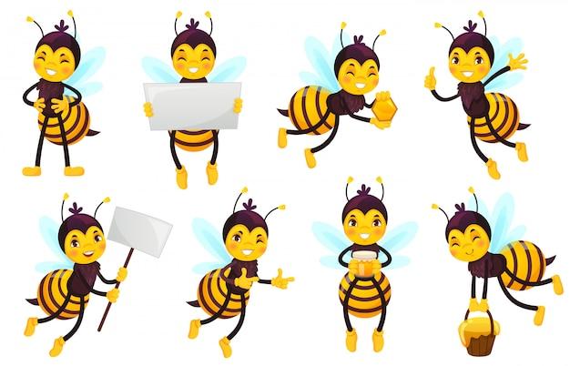 Bee stripfiguur. bijenhoning, vliegende schattige honingbij en grappige gele bijenmascotte illustratie set Premium Vector
