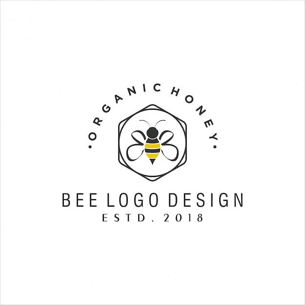 Bee vintage logo-ontwerp Premium Vector