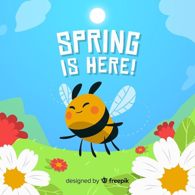 Bee vliegende lente achtergrond Gratis Vector