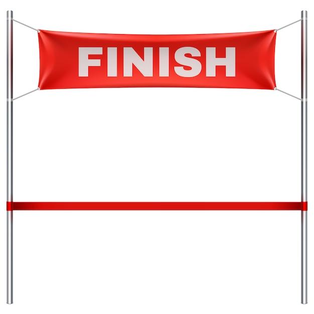 Beëindig lijn met rode textiel geïsoleerde banner vectorillustratie. finish sportrace, overwinning en succes afwerking Premium Vector