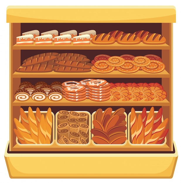 Beeld van verschillende brood en bakkerijproducten op planken Premium Vector