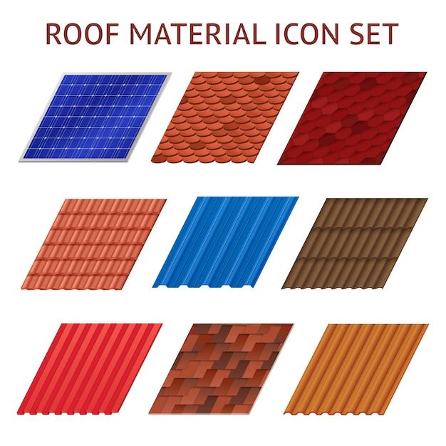 Beeldenreeks verschillende kleuren en vormenfragmenten van daktegel geïsoleerde vectorillustratie Gratis Vector