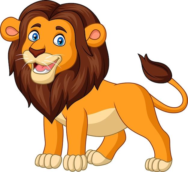 Beeldverhaal gelukkige die leeuw op witte achtergrond wordt geïsoleerd Premium Vector