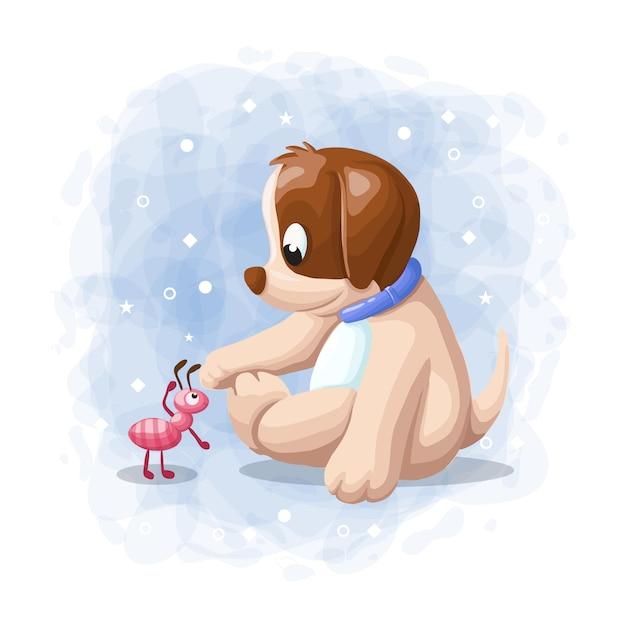 Beeldverhaal het leuke hond spelen met ant illustration vector Premium Vector