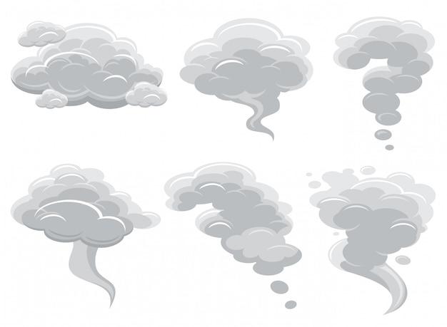 Beeldverhaal rokende wolken en de komische vectorcollectie van de cumuluswolk Premium Vector