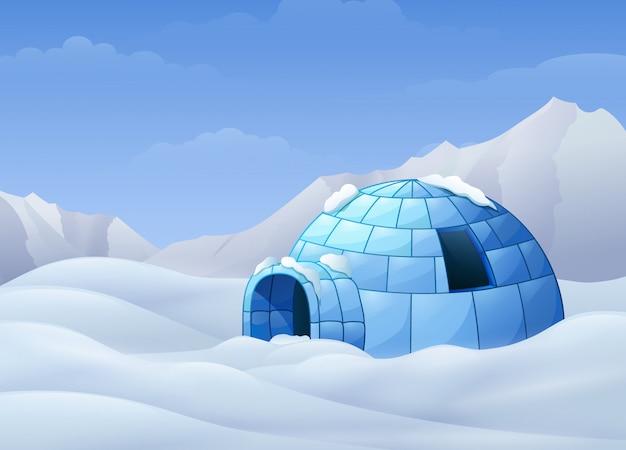 Beeldverhaal van iglo met bergen in de winterillustratie Premium Vector