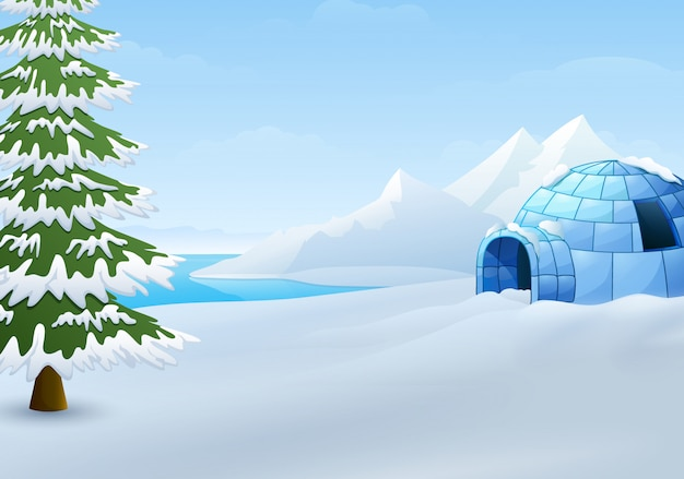 Beeldverhaal van iglo met sparren en bergen in de winterillustratie Premium Vector