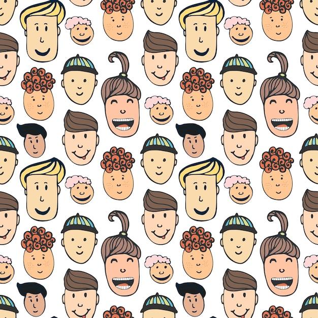 Beeldverhaal vector naadloos patroon met illustratie van volkerengezichten. blije kinderen hand getekende achtergrond Premium Vector