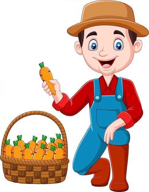 Beeldverhaal weinig landbouwer die wortelen oogsten Premium Vector
