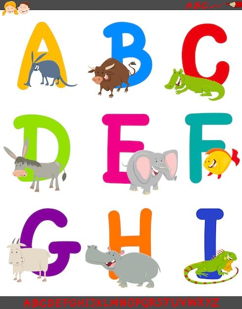 Beeldverhaalillustratie van alfabet dat met dieren wordt geplaatst Premium Vector