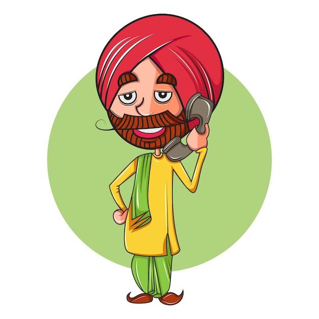 Beeldverhaalillustratie van de mens die van punjabi op telefoon spreken. Premium Vector
