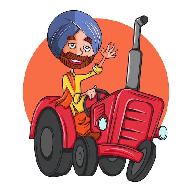 Beeldverhaalillustratie van de mens van punjabi op tractor. Premium Vector