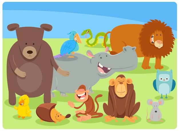 Beeldverhaalillustratie van dierlijke karaktersgroep Premium Vector