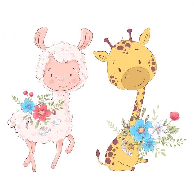 Beeldverhaalillustratie van een leuke lama en een giraf Premium Vector