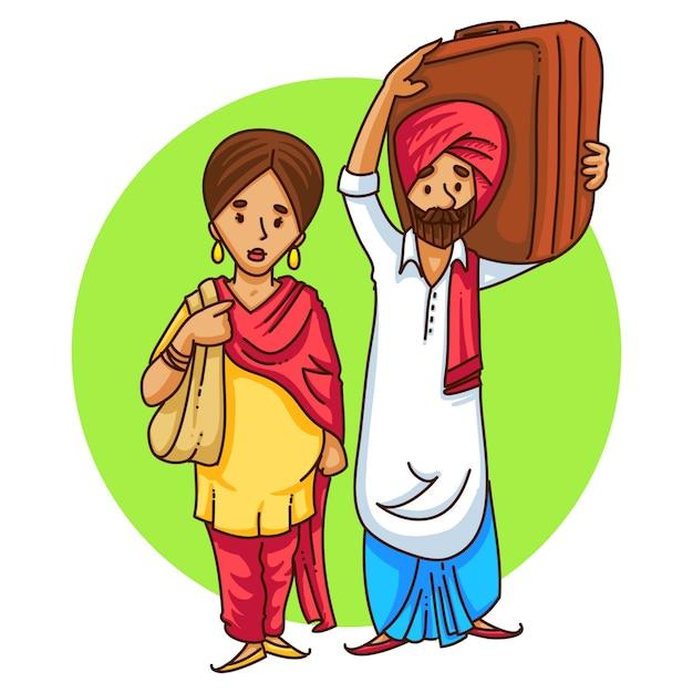Beeldverhaalillustratie van een punjabi-paar het reizen. Premium Vector