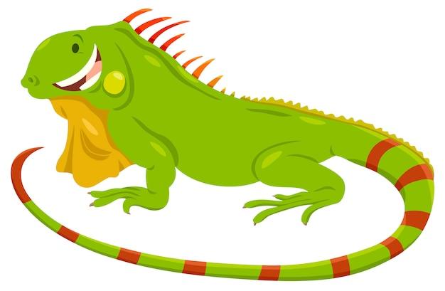 Beeldverhaalillustratie van groen leguaandier Premium Vector