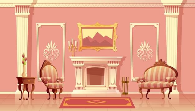 Beeldverhaalillustratie van luxewoonkamer met open haard, balzaal of gang met pilasters Gratis Vector