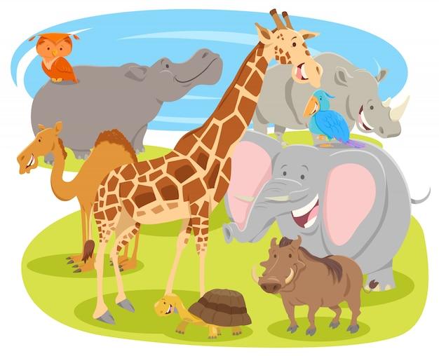 Beeldverhaalillustratie van wilde dierlijke karakters Premium Vector
