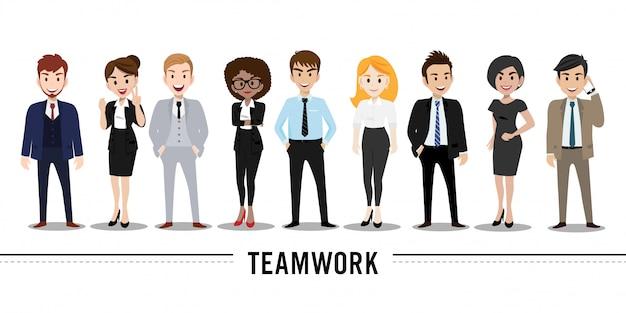 Beeldverhaalkarakter met bedrijfsman en bedrijfsvrouw, de illustratie van het groepswerkconcept. Premium Vector