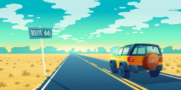 Beeldverhaallandschap van onvruchtbare woestijn met lange weg. auto rijdt langs asfaltweg naar canyon Gratis Vector