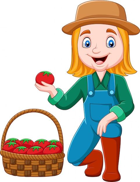Beeldverhaalmeisje het oogsten tomaten Premium Vector