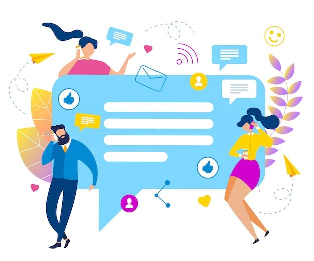 Beeldverhaalmensen met de sociale media vectorillustratie van de bellentoespraak. Premium Vector