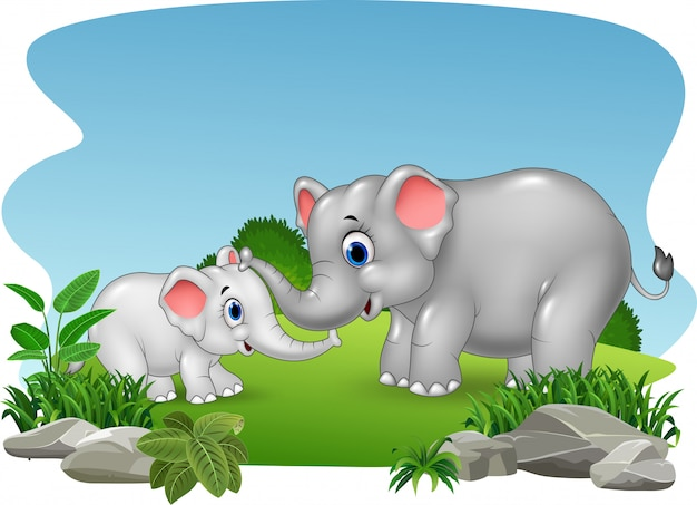 Beeldverhaalmoeder en babyolifant in de wildernis Premium Vector