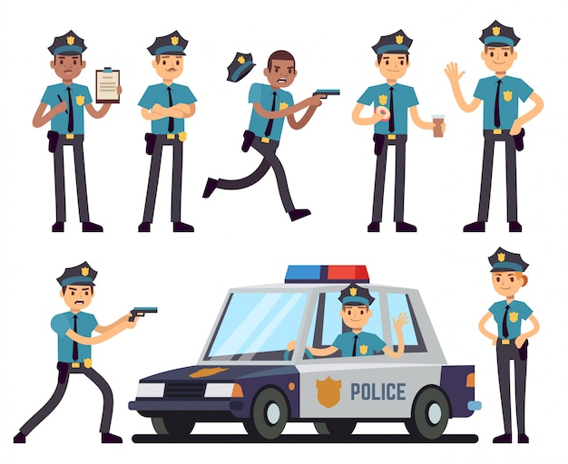 Beeldverhaalpolicewoman en politieagentkarakters in politie eenvormige vectorreeks Premium Vector