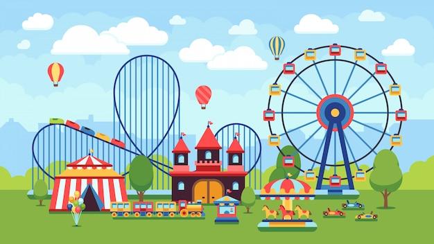 Beeldverhaalpretpark met circus, carrousels en achtbaan vectorillustratie. circuspark en carrousel cartoon plezier, amusement en carnaval Premium Vector