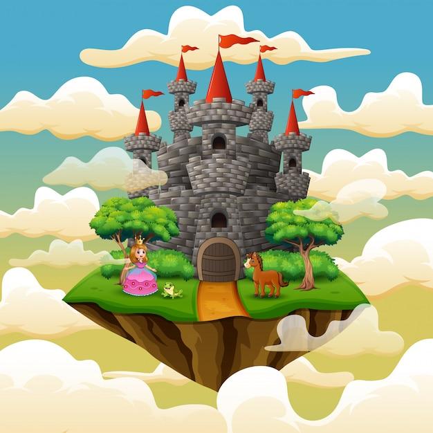 Beeldverhaalprinses vooraan een kasteel op de wolk Premium Vector