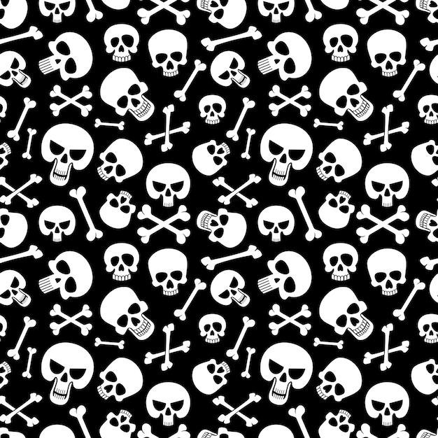 Beenderen en schedels naadloze patroon achtergrond Premium Vector