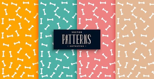Beenderenpatroon in vier kleuren geplaatst desgin Gratis Vector
