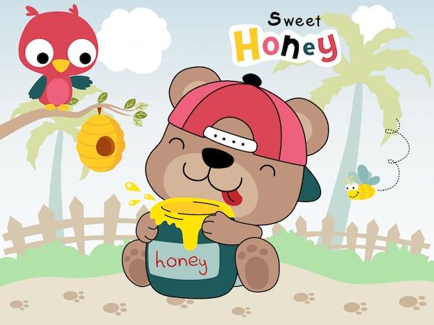 Beer cartoon knuffelkruik honing met een uil Premium Vector