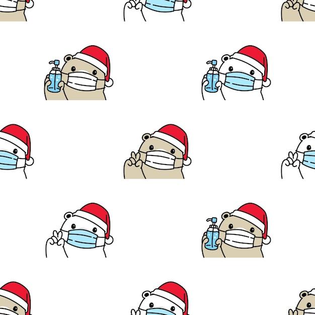 Beer polair naadloos patroon kerst gezichtsmasker kerstman Premium Vector