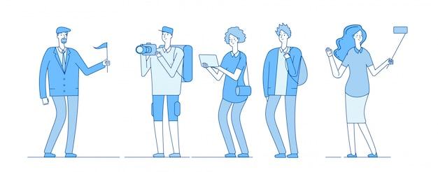 Begeleiden met jongeren met rugzak Premium Vector