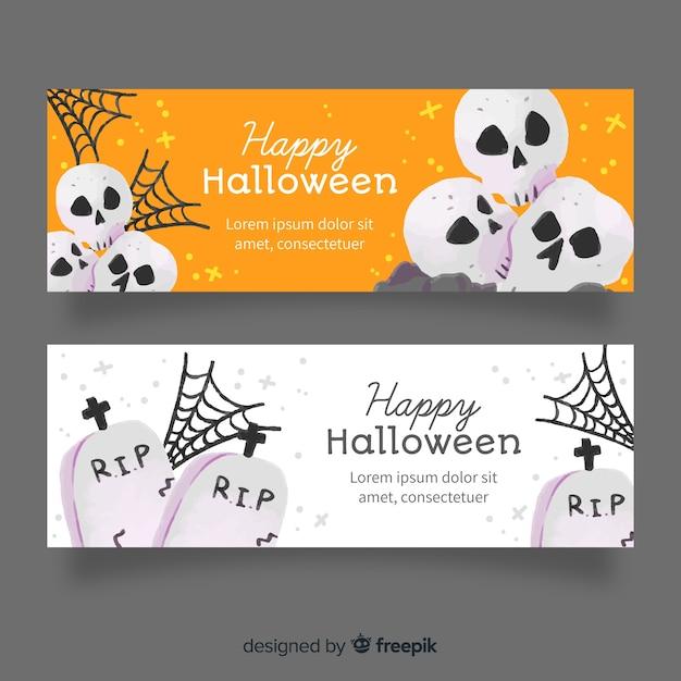Begraafplaats en schedels aquarel halloween banners Gratis Vector